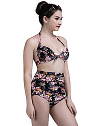 Women's Halter Bikini Floral Nylon Floral