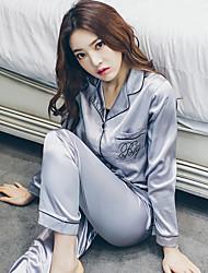 assinar a primavera e verão moda elegância simples de seda pijamas de seda camisola venda fato de desporto