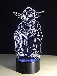 bulbificação luz 3d 7 cores mudando brinquedos Millennium Falcon Darth Vader BB8 robô droid Mestre Yoda levou a iluminação da