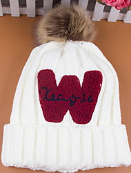Winter Fashion Warm Plus Velvet Thicken W Letter Wool Single Hat Ladies Ear Protection Knit Hat