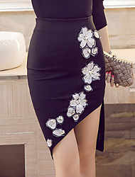 Women's Floral Red /Black Bodycon Skirts Plue Size Sexy Work Embroidered Beaded High Waist Asymmetrical Spring /Summer