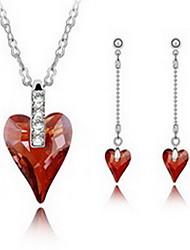 Schmuck 1 Halskette 1 Paar Ohrringe Kristall Party Aleación 1 Set Damen Goldfarben Rot Lila Hochzeitsgeschenke