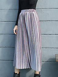 Women's A Line Solid Pleated Skirts,Casual/Daily Work Party/Cocktail Boho Cute Street chic Mid Rise Midi Elasticity Others Micro-elastic