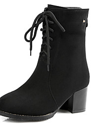Women's Shoes Chunky Heel Round Toe Lace Up Ankle Boot with Back Zip More Color Available