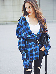 Yang Ying star with baby blue plaid shirt Girls long section of loose long-sleeved shirt dress