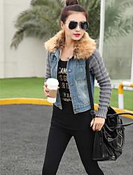 Feminino Jaquetas Jeans Casual Moda de Rua Primavera / Outono,Sólido Azul Algodão / Poliéster Decote Redondo-Manga Longa
