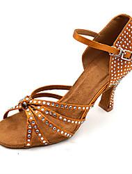 Sapatos de Dança(Marrom) -Feminino-Personalizável-Latina Jazz Salsa Sapatos de Swing