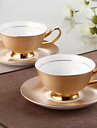 1PC  Wedding gift of European high-grade bone china coffee cup dish set gold cup