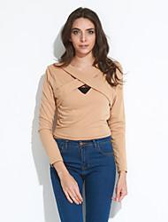 Femme lacet Tee-shirt Aux s,Couleur Pleine Sortie/Décontracté/Quotidien Sexy/Chic de Rue Automne/Hiver Manches Longues AsymétriqueBlanc
