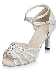 Customizable Women's Dance Shoes Satin Satin Latin Heels Flared Heel Practice Beginner Indoor Outdoor Performance Black White