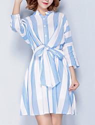 Feminino Evasê Vestido, Para Noite Simples Listrado Colarinho Chinês Acima do Joelho Manga ¾ Azul Algodão Linho Primavera VerãoCintura