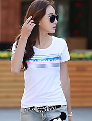 2017 nouvelles manches courtes été korean col rond t-shirt lettres d'impression coton t-shirt des femmes minces compatissante
