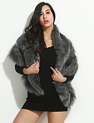 Women's Formal Simple / Street chic Fur Coat Solid V Neck Sleeveless Winter Gray Faux Fur Thick
