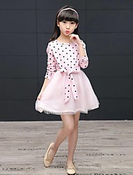 Robe Fille de Points Polka Coton Printemps Manches longues