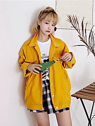 Women's Casual/Daily Simple Fall Denim Jackets,Solid Shirt Collar Long Sleeve Red / Green / Yellow Cotton Medium