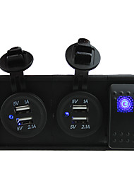 DC 12V/24V two 3.1A USB port Sockets with rocker switch jumper wires and housing holder