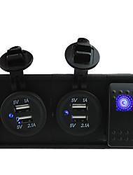 tomas de puerto USB / 24v dc 12v 3.1a dos cables de puente con la tecla balancín y titular de la vivienda