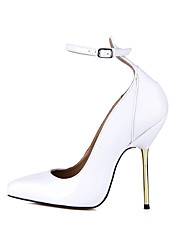 Women's Heels Spring Fall Ankle Strap Patent Leather Wedding Party & Evening Dress Stiletto Heel White