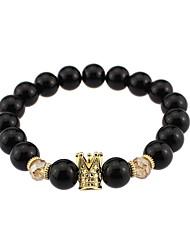 Bracelet Strand Bracelet Agate Crown Natural Vintage Gift Jewelry Gift Black,1pc