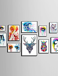 E-HOME® Framed Canvas Art People And Animals Watercolor Painting (2)Theme Series Framed Canvas Print One Pcs