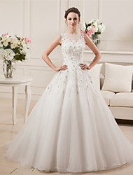 A-line Wedding Dress Court Train Bateau Satin Tulle with Beading Lace