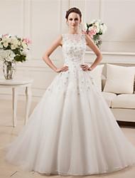A-ligne bateau tribunal train satin tulle robe de mariée avec dentelle perlée