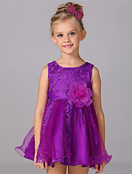 Princess Knee Length Flower Girl Dress - Cotton Sleeveless Scoop Neck