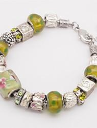 Bracelet Chaînes & Bracelets Alliage Verre Médaillon Forme de Coeur Forme de Lettres Autres Amour Mode Fait à la main Bijoux CadeauJaune
