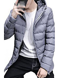 Men's Regular Padded Coat,Simple Cute Street chic Plus Size Casual/Daily Solid-Polyester Cotton Long Sleeve HoodedBlue Red Black Gray