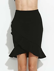 Women's Ruffle Irregular Skirts Front Open Elasticity Package Falbala Short