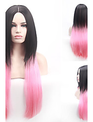 Black To Pink Two Tone Color Gradient Fashion Heat Resistant Popular Style Long Staight Synthetic Wig