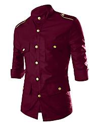 Masculino Camisa Social Casual Praia Casamento Vintage Simples Boho Primavera Outono,Sólido Galáxia Estampado Azul Vermelho PretoAlgodão