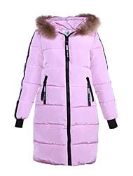 Women's Regular Padded CoatSimple / Street chic Slim Fur Trim Thick Warm Casual Solid Long Sleeve Hooded