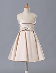 A-line Short / Mini Flower Girl Dress - Matte Satin Sleeveless Jewel with Bow(s)
