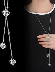 Pendentif de collier Collier Y Perle imitée Forme de Fleur Zircon Plaqué argent Alliage Basique Mode Argent Bijoux PourMariage Soirée
