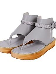 Damen-Sandalen-Lässig-Kunststoff Mikrofaser-Flacher Absatz-Komfort Leuchtende Sohlen-Schwarz Weiß Grau