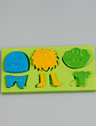 Creative Gifts Cartoon Animal Series Cake Decoration Silicone Molds With Color Random