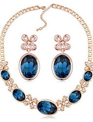 Jewelry 1 Necklace 1 Pair of Earrings Crystal Party Alloy 1set Women White Blue Dark Navy Wedding Gifts