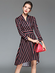Maxlindy Women's Fine Stripe Going out/Party/Holiday Vintage/Street chic /A Line Dress