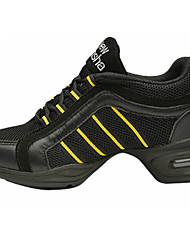 Customizable Women's Dance Shoes Canvas Canvas Modern Split Sole Low Heel Practice Beginner Indoor Outdoor Performance Yellow Red