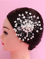 The Bride Headdress Handmade Crystal Pearl Headdress Flower Bride Wedding Hair Comb Red And white 1PCS
