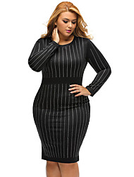 Women's Plus Size Casual/Daily Formal Simple Loose Dress,Solid Round Neck Above Knee Long Sleeve Polyester Black All Seasons Low Rise