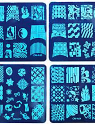 8pcs diy ongles film bleu impression de vernis à ongles un carré de la plaque d'acier costume 1
