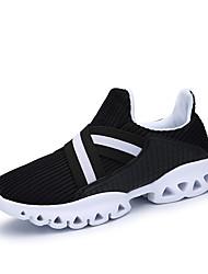 Masculino-Tênis-Solados com Luzes par sapatosPreto Laranja-Couro Ecológico-Casual