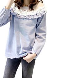 Feminino Camisa Social Para Noite Casual Trabalho Vintage Fofo Sofisticado Todas as Estações,Sólido Retalhos AzulOutros Tipos Especiais