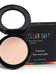 Color Salon Flawless Two-Way Cake Press Powder 12g with Puff Oil-control face concealer