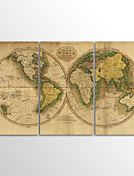 Canvas Set Unframed Canvas Print Landscape Classic Traditional Vintage World MapThree Panels Canvas Horizontal Print Wall Decor For Home Decoration