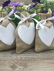 20 Piece/lots Love Heart Vintage Natural Burlap Gift Candy Bags Pouch Jute Gift Bag 9cm*14cm