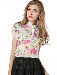 Damen Blumen Einfach Lässig/Alltäglich Bluse,Ständer Frühling Sommer Kurzarm Blau Rosa Gelb Polyester Undurchsichtig Dünn