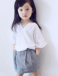 Girl Casual/Daily Beach School Solid Check Sets,Cotton Polyester Summer Short Sleeve Clothing Set